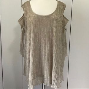 Catherines Cold Shoulder Gold Sparkle Swing Top 5X